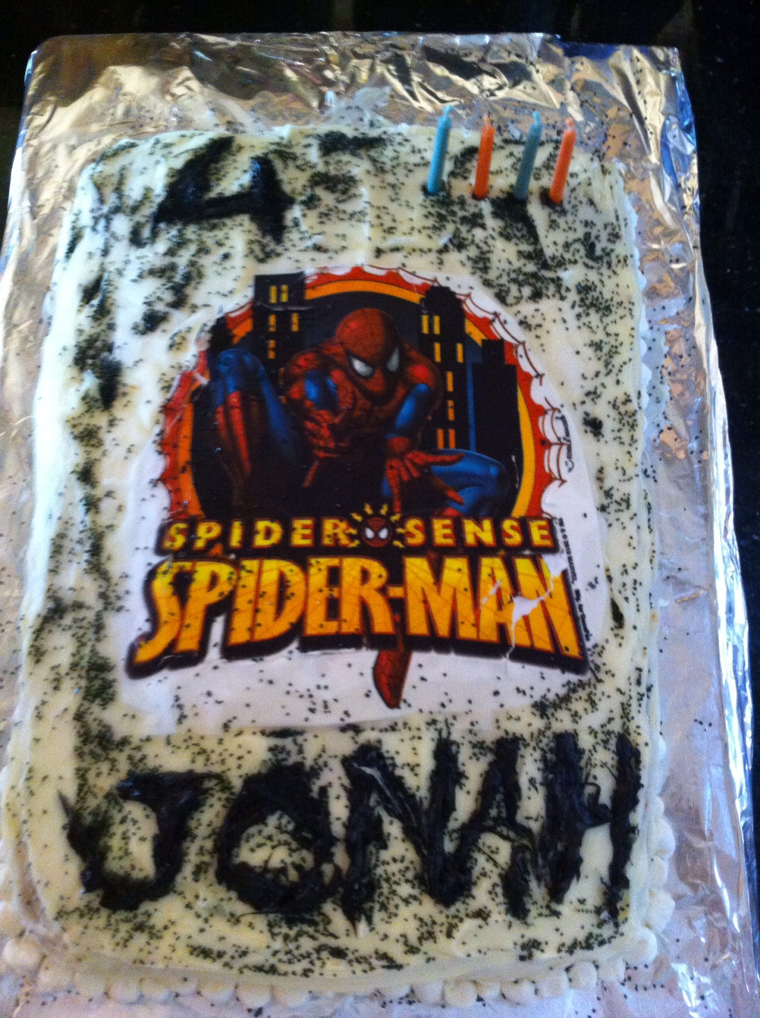 Jonah 4th Spiderman decal cake