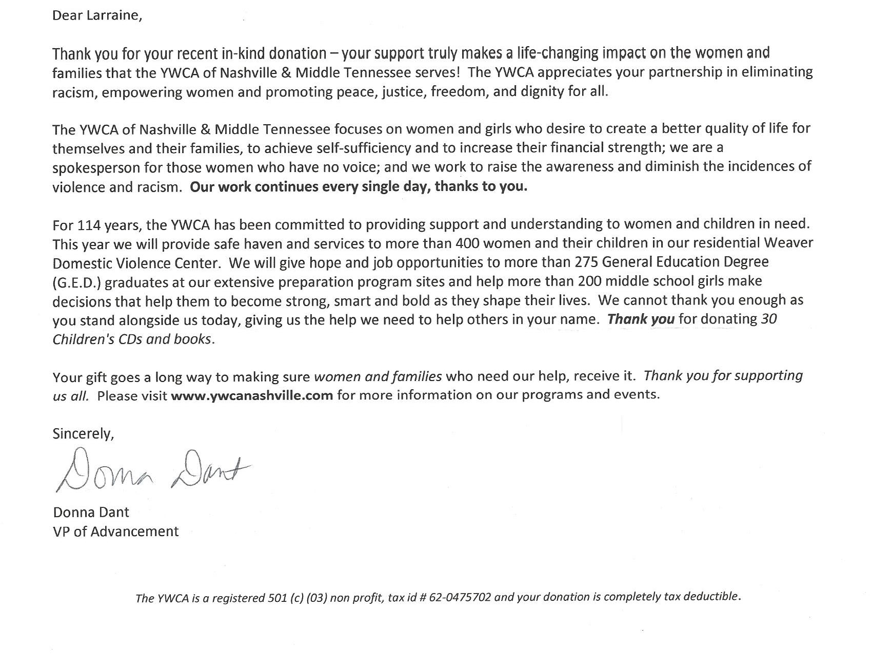 YWCA Nashville letter of thanks Cropped