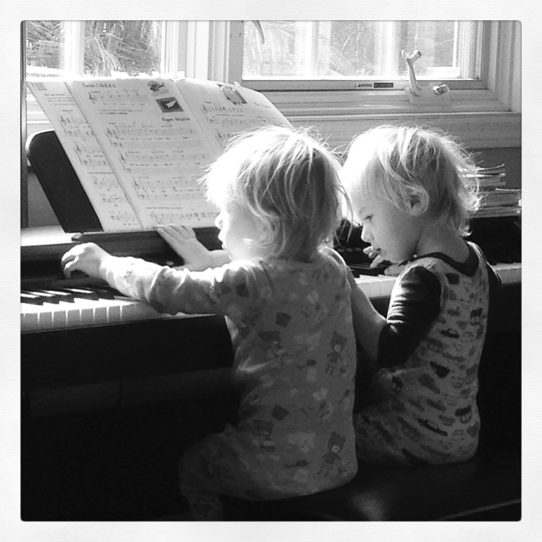 Noah and Gabe playing piano b and w Sept 2013