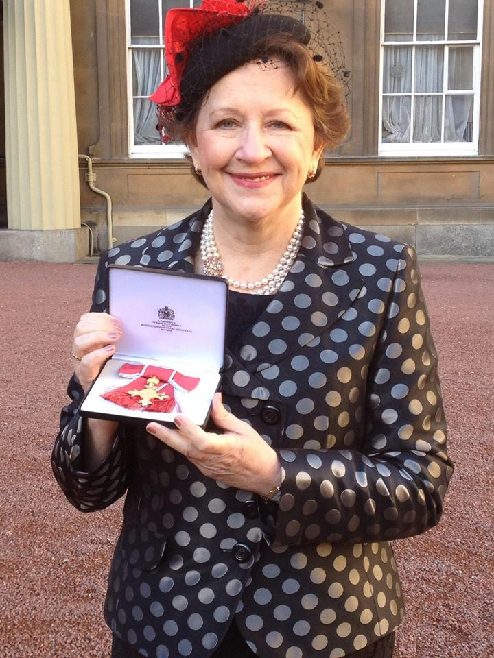 Pamela at Buckingham Palace December 2013 to receive oBE