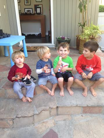 Jack Jonah Noah Gabe eating ice April 2014