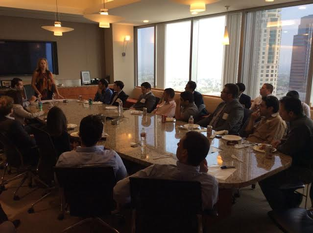 Larraine giving speech to young professionals in Century City 2014
