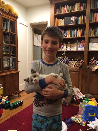 Jack and fluffy cat Dec 2014