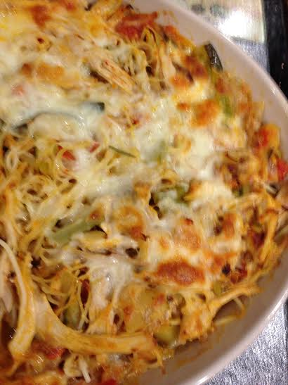 Spaghetti Chicken or Turkey Ratatouille pie or casserole 2014