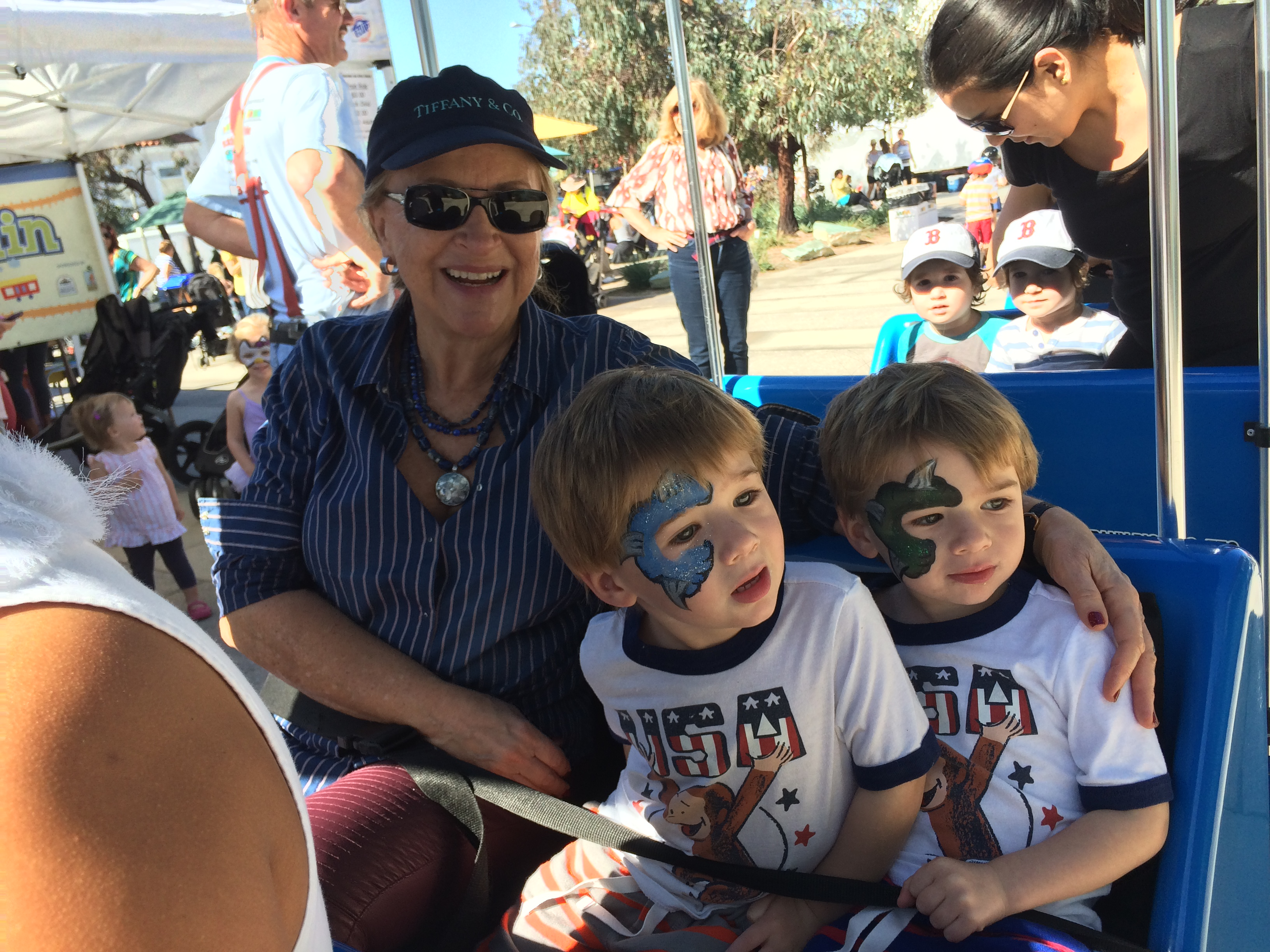 Grandma with twins on train at farmers market Feb 2015