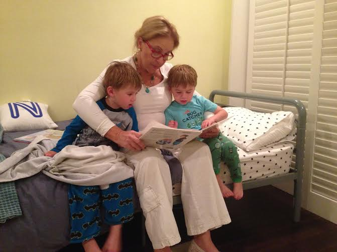 Grandma Larraine Reading to Gabe and Noah May 2015