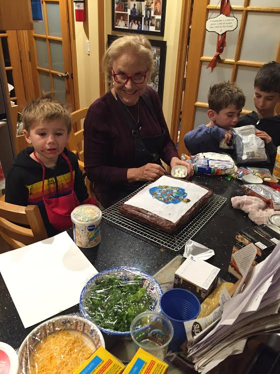 Jack jonah and Noah with Granda and paw patrol cake 2015