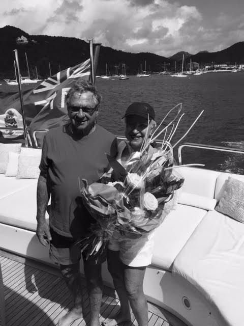 Larraine and Clive Black and White anniverary on Kai Yacht March 2016