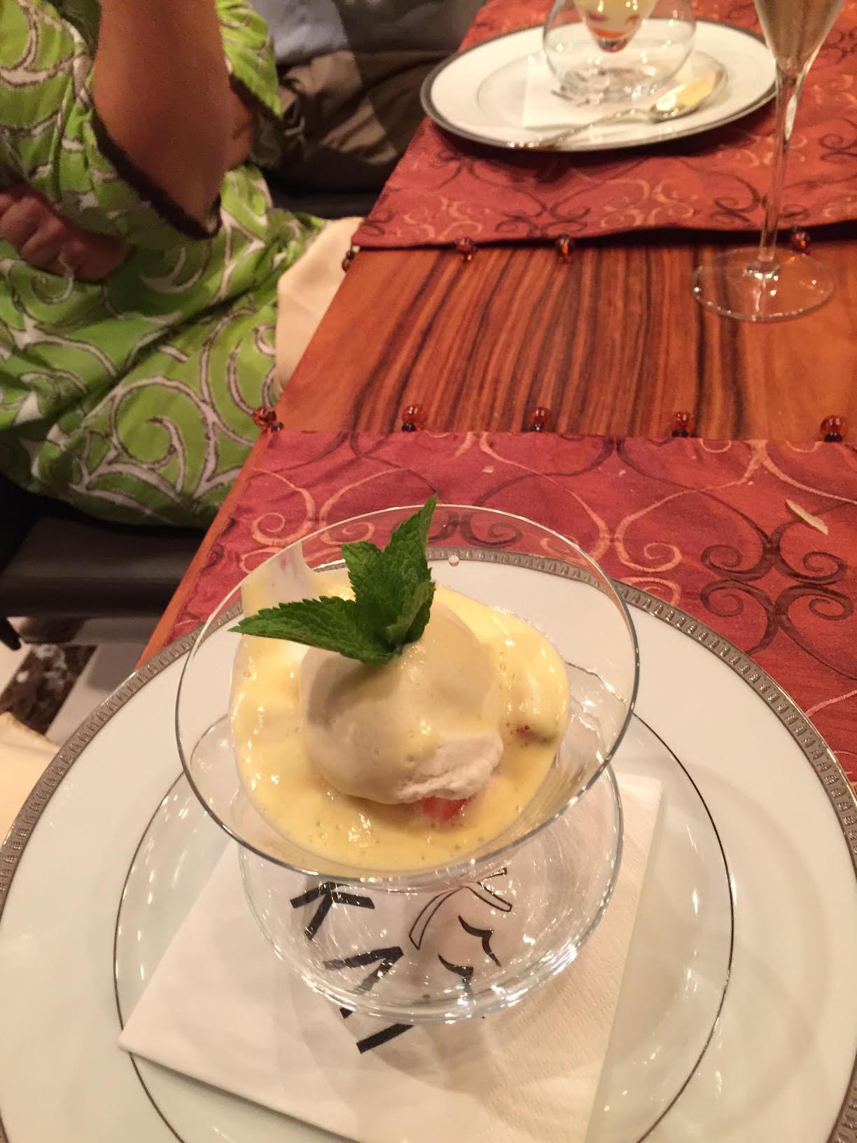 Strawberries and Sabayon Sauce on Kai
