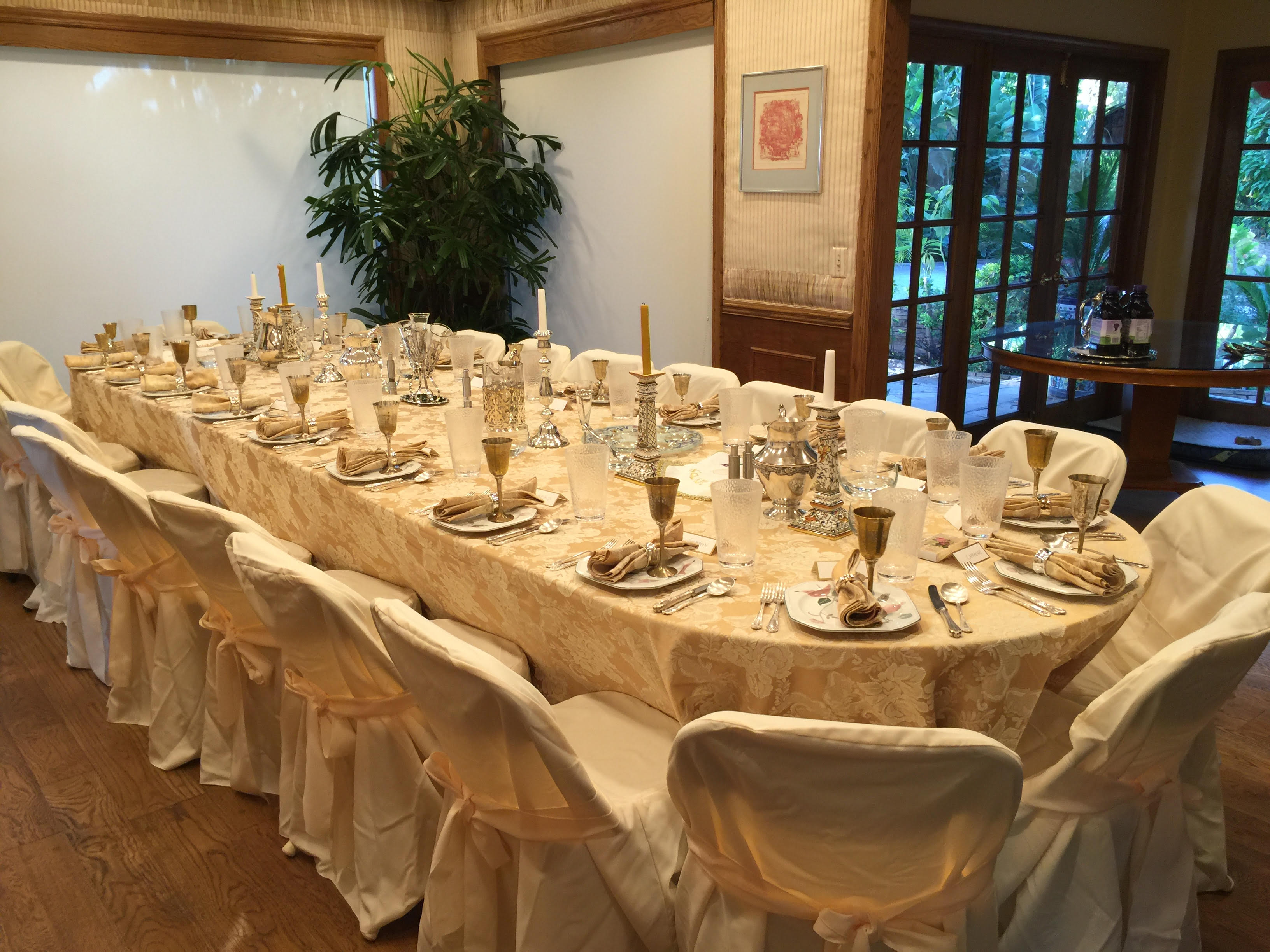Seder table 2016 At Little Farm