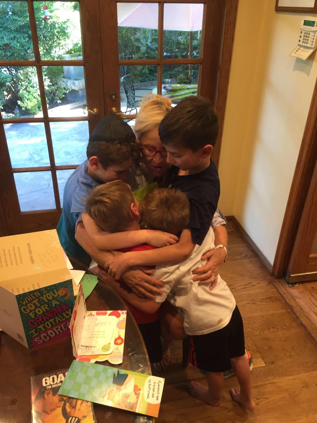 Second Group hug Jack jonah noah gabriel and Larraine Birthday hug 2016 at home shabbat