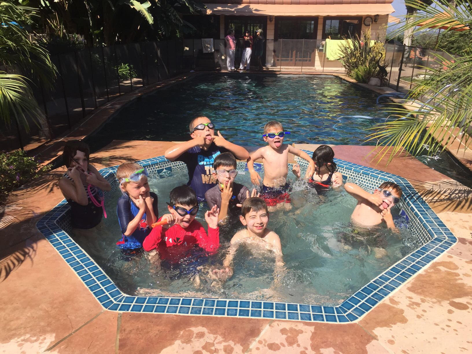 Grandkids and cousins in jacuzzi having Labor Day fun